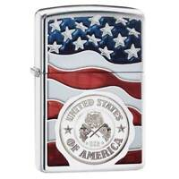 Zippo Windproof Lighter American Stamp On Flag High Polish Chrome (29395)