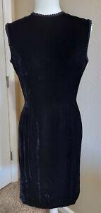 Vintage Anne Fogarty Black Velvet Cocktail Dress Size 10
