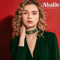 Collar Colgante Choker Verde Terciopelo Joya Mujer Vintage Accesorio Regalo idea