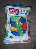 Mega Bloks Big Building Bag - 80 Piece Complete In Bag Blocks Barely Used EUC