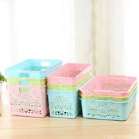 Portable Hollow Thick Plastic Storage Baskets Bins Organizer Cute Pink
