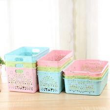 Portable Hollow Thick Plastic Storage Baskets Bins Organizer Cute Pink