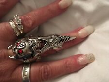 Knuckle Armour Spike Finger Double Ring crystal platinum Punk Rock Claw head
