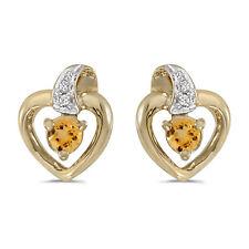 10k Yellow Gold Round Citrine And Diamond Heart Earrings