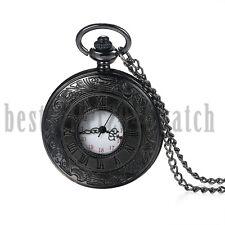 Vintage Steampunk Carved 24H Dial Quartz Pocket Watch Necklace Roman Numerals