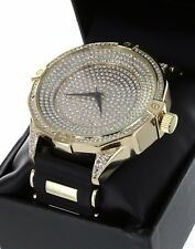 Techno Pave Men Hip Hop Gold Tone Iced Out Lab Diamond Rapper Watch New