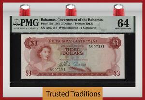 TT PK 19a 1965 BAHAMAS $3 DOLLARS QUEEN ELIZABETH II PMG 64 CHOICE UNCIRCULATED