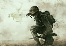 A4| Awesome Battlefield Soldier Poster Size A4 Helicopter Poster Gift #15864
