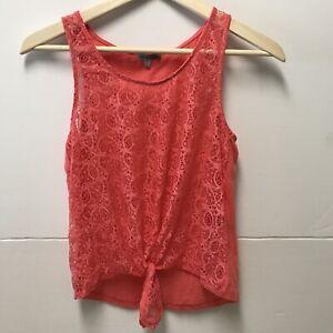 Charlotte Russe Tank Pink Blouse Textured Girls Size Medium