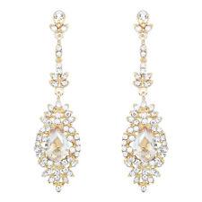 Champagne Chandelier Earrings Gold Crystal Wedding Earrings Women Drop Earrings