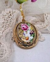 ROSE CHINA jewelry LOCKET PORCELAIN PENDANT NECKLACE PILL BOX WEDDING Valentine