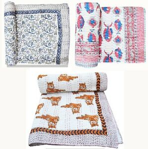 Indian Traditional Cotton Hand Block Ethnic Baby Bed Cover Kantha Quilt Blanket