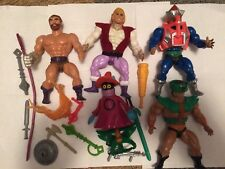Lot of vintage Masters of the Universe He-Man Figures weapons accessories MOTU