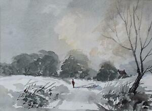 Figure in the Forest in Winter 'Cool and Crisp' Watercolour David Weston 1984