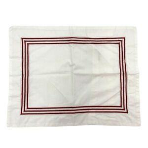 Pottery Barn Grand Small Accent Pillow Cover/Sham Red Stripe Embroidered Rare