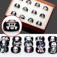50pcs Wholesale Lots Black Skull Children Kids Chubby Bulk Resin Lucite Rings