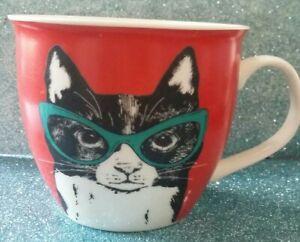 Cat Wearing Glasses Oversize Coffee Cup. Cambridge English by Design. Tea Mug.