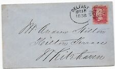 # 1858 BELFAST IRISH SPOON 1d STAR BELFAST & BALLYMENA RAILWAY TO ANDREW HILTON