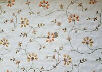 """Upholstery Fabric 2 Yards 11"""" Antique White with Embroidered Flowers  56"""" Wide"""