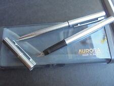 AURORA AURETTA SET 2 PENNE IN ACCIAIO STILOGRAFICA E SFERA +SCATOLA Steel '90