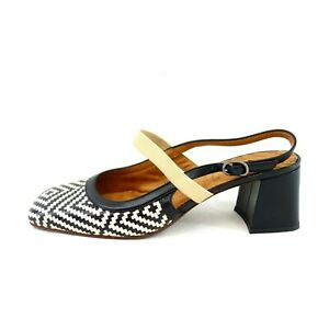 CHIE MIHARA Damen Schuhe Pumps Sandaletten Schwarz Weiß Leder Gr 40 Np 265 Neu
