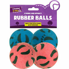 More details for 4pk rubber dog balls   bouncy puppy pet solid hard play ball fun fetch toys