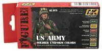 AK Interactive AK3070 US Army Soldier Uniform Colors (Figure Series) Paint Set