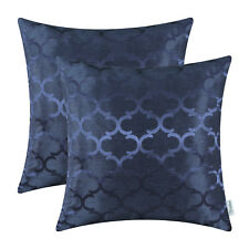 2Pcs Navy Blue Pillows Shells Cushion Covers Quatrefoil Accent Geometric 45X45cm