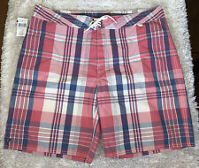 Men's Polo By Ralph Lauren Plaid Swimwear Swim Boardshorts Size 40 Red Lake