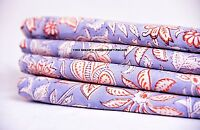 5 Yard Indian Hand Block Print Running Loose Cotton Fabric Printed Sewing Fabric