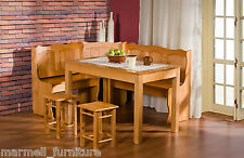 Kitchen Dining Corner Wooden Bench, Under Seat Storage, Table, 2 Stools - MAXI