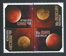 """2015 """"Our Solar System"""" Mercury & Mars 35c Block of 4 Stamps:Muh"""
