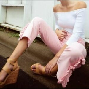 New With Tags Zara Pale Pink Straight Leg Jeans With Ruffled At Hem Bloggers L