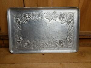 Vintage Everlast Hand Forged Aluminum Tray marked 301 Grapevine Pattern 14 x 9in