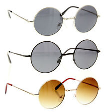 John Lennon Sunglasses Round Retro Hippie Dark Lens Shades Frame Gold Black NEW