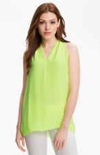 Vince Camuto Sleeveless Vneck Blouse Top neon green yellow  sz-L