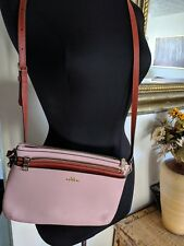 COACH F58316 CROSSBODY LEATHER WITH POP UP POUCH SET NWT PINK/COOPER