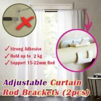 2Pcs Nail-free Adjustable Rod Bracket Holders Magic Hanging Curtain Rod K4V2