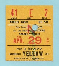 Vintage 1965 Dodgers vs Giants Ticket Stub HOF'rs DRYSDALE (Win) vs MARICHAL (L)