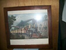 Beautiful Vintage Wood Picture Frame with Train Picture