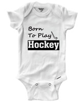 Born To Play Hockey Infant Gerber Baby Onesies Bodysuit Clothes Babysuit Gift