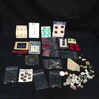 Lot Of 155 VTG Plastic Buttons 22 Sets + 57 Loose + Snaps Hooks Eyes White Pink