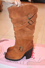 JEFFREY CAMPBELL MISSION STRAP BROWN  BOOTS SIZE 10