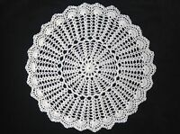 "Handmade 14"" 35cm ecru /natural vintage doilie doily doiley crochet lace round"