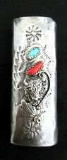 Vintage Old Pawn Southwest Silver and Turquoise Lighter Case STERLING *503
