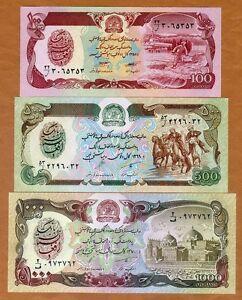 SET Afghanistan 100;500;1000 Afghanis, 1979-1991, P-58-60-61 UNC