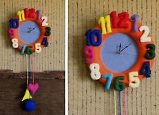 Nursery Felt Wall Clock, Playroom Felt Wall Decor