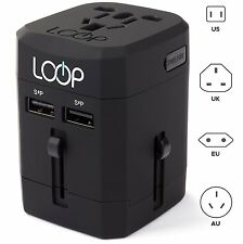 LOOP World Adapter Plug BEST Worldwide Travel Charger [US UK EU AU CN] w/ Dua...