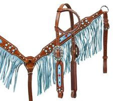 HORSE Turquoise Beaded BLING Leather Bridle Headstall Reins Fringe Breast Collar