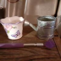 Miniature Metal Watering Can, Ceramic Pot,& Purple Lavender Rake Gardening Set